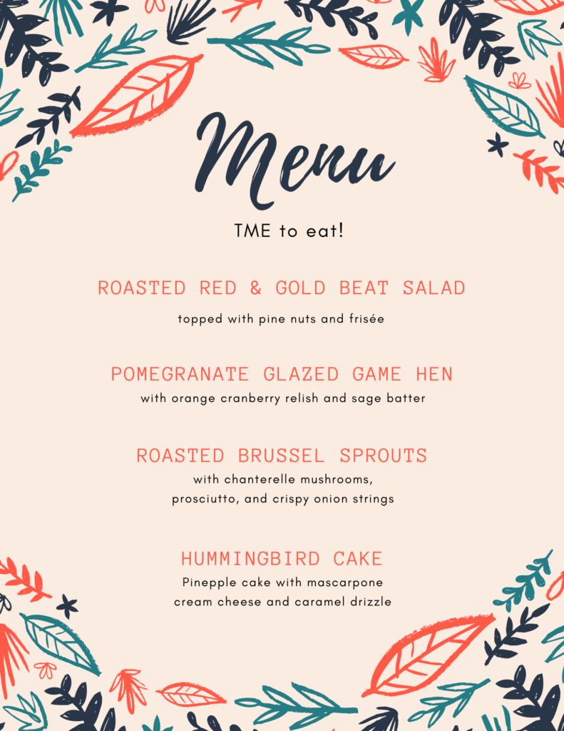menu with typos