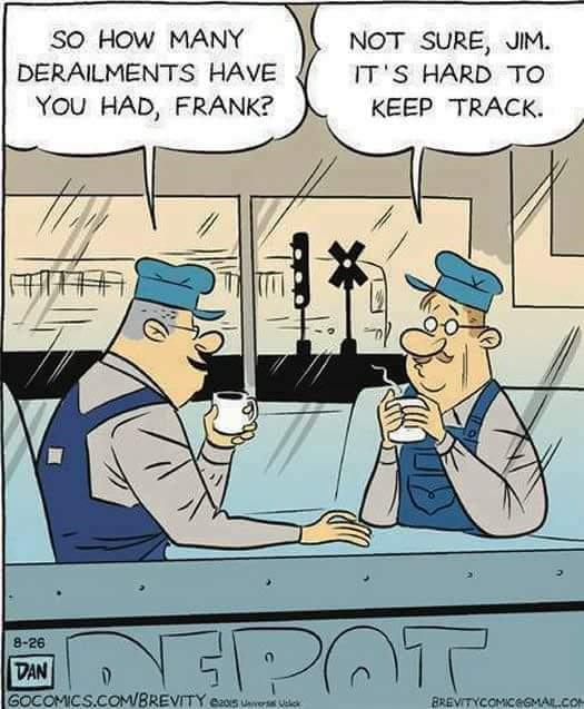 cartoon, railwaymen talking about derailment, off track